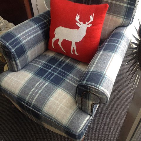 Tartan wool club chair - ReVamp Vintage
