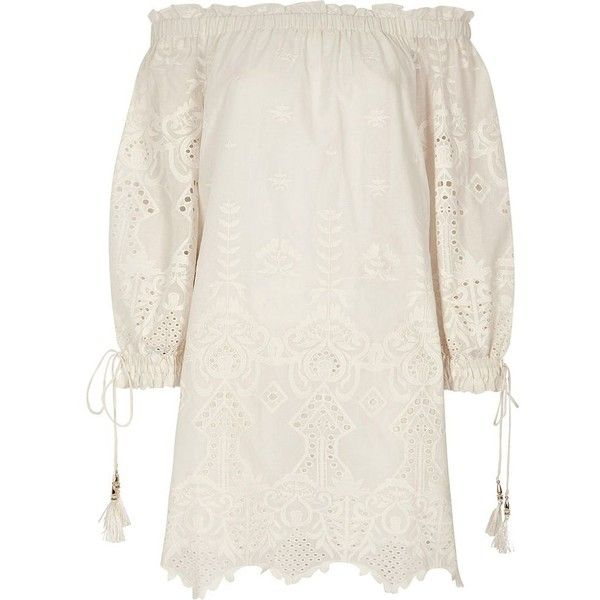 River Island Cream embroidered broderie bardot dress ($110) ❤ liked on Polyvore featuring dresses, bardot & bandeau dresses, cream, women, tassel dress, ruffle mini dress, flutter-sleeve dresses, long sleeve embroidered dress and ruffle neck dress