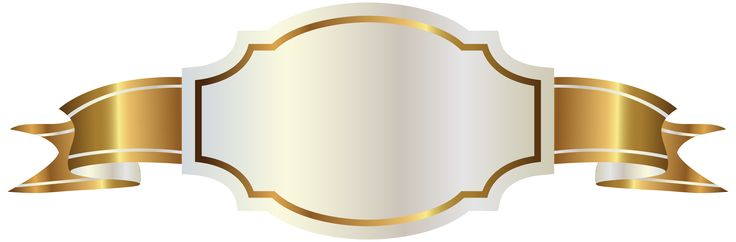 White Label and Gold Banner PNG Clipart Image
