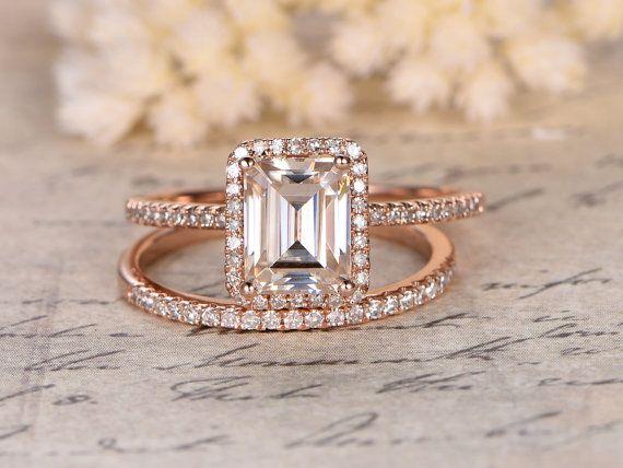Moissanite Engagement Ring,2 rings set,6x8mm Emerald Cut,Diamond Wedding Band,14K Rose Gold,Halo Design,Half Eternity,Wedding Bridal Set