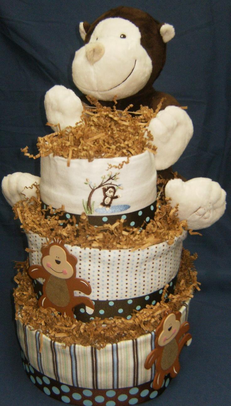 Monkey Diaper Cake  www.cakeistry.ca