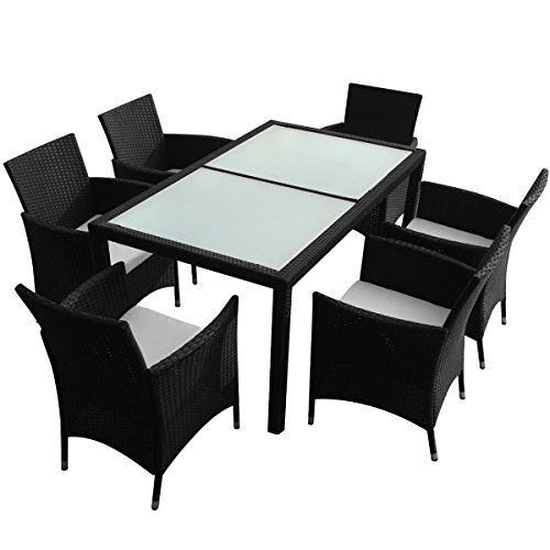 rattan garden furniture set black 6 chairs 1 table - Garden Furniture 6 Chairs
