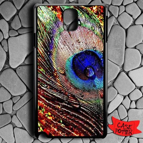 Water Drop On Feather Peacock Samsung Galaxy Note 3 Black Case