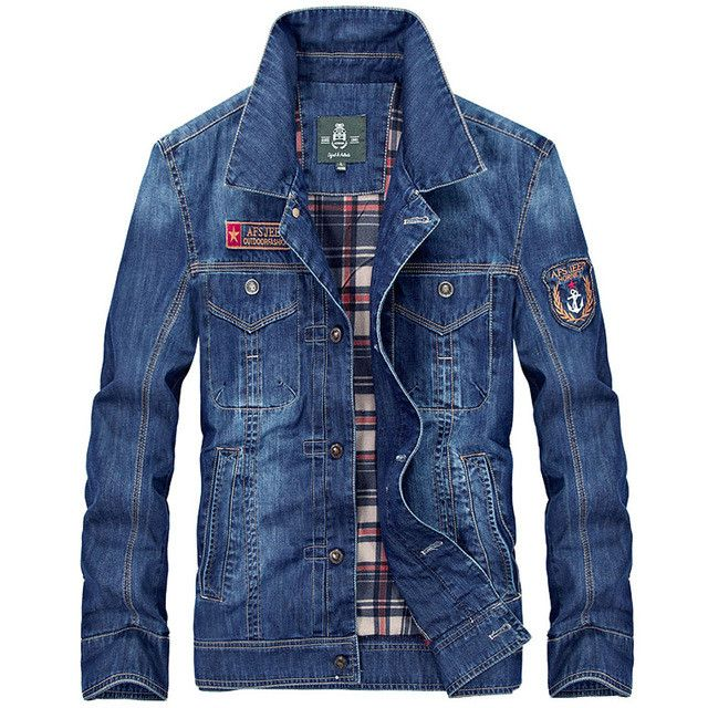 New Arrival Product Mens denim jacket cotton casual mens jean jackets dark blue solid coat male clothing fashion