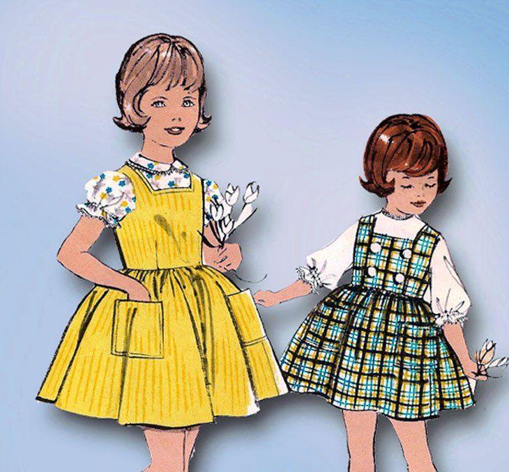1960s Vintage Advance Sewing Pattern 2962 Toddler Girls Jumper Dress Size 6