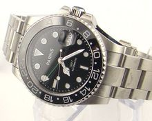 Parnis 40mm GMT Style Ceramic Bezel date sapphire glass automatic mens watch 962(China (Mainland))