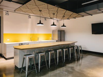 Renault Australia's kitchen area achieved a modern and youthful, yet up market feel.