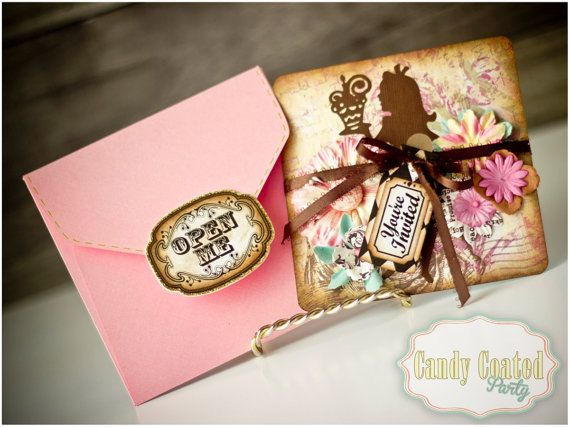 "Alice in Wonderland Invitations 20ct by CandyCoatedParty ""ONE""derland Color scheme"