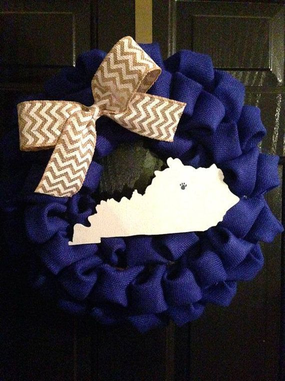 Burlap Kentucky State Wreath with Wildcat Paw Print and Chevron Bow