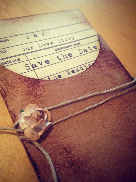 Reserved - Jasmin - 50 Save the date Library card and pocket on Etsy, $225.00