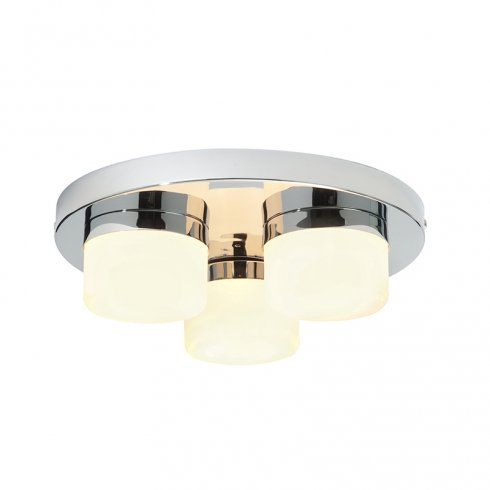 Endon lighting pure 3 light flush bathroom ceiling fitting in polished chrome finish with matt opal