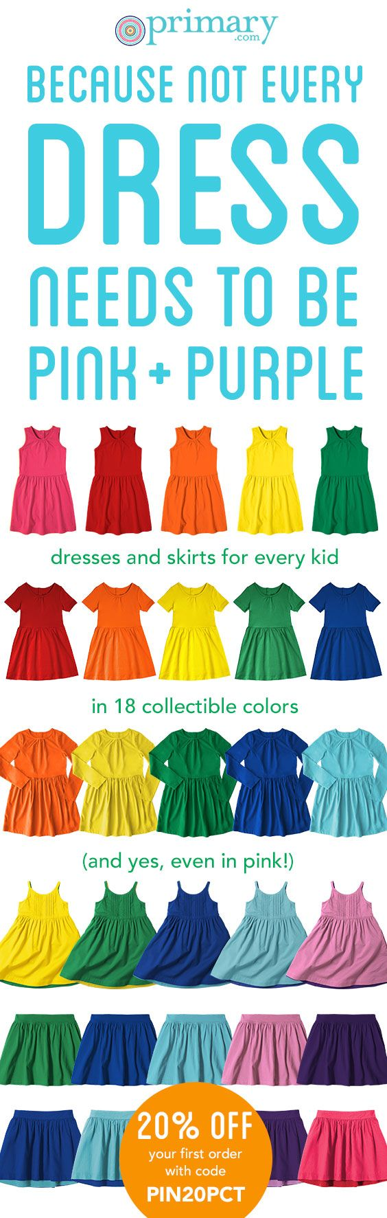 Say hello to comfortable colorful cotton dresses and skirts by Primary in a rainbow of colors and featuring reversible styles and pockets! (Because every dress and skirt should have pockets!) New friends get 20% off a first order with code PIN20PCT and free shipping always!