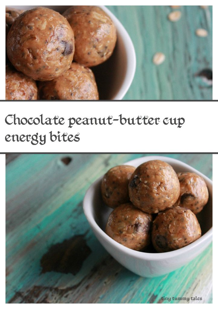 Chocolate Peanut-butter cup energy bites! Delicious homemade snack! Gluten free with certified oats and dairy free with milk free chocolate chips!