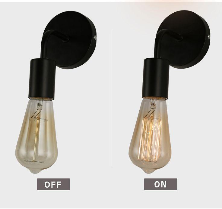Vintage Lampe Murale Créative Lampe De Chevet Nordique Edison Éclairage Mur De Fer Applique Entrepôt Lampes Accueil Luminaire E27 Titulaire dans Mur Lampes de Lumières et Éclairage sur AliExpress.com | Alibaba Group
