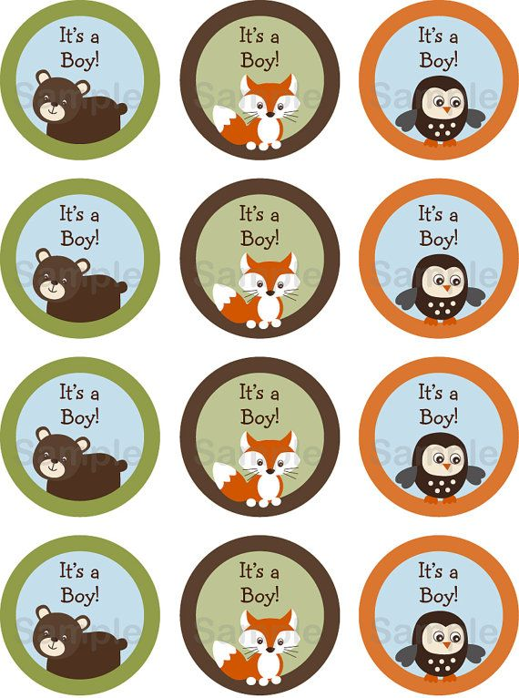 Cute Woodland Animal Cupcake Toppers Woodland Baby