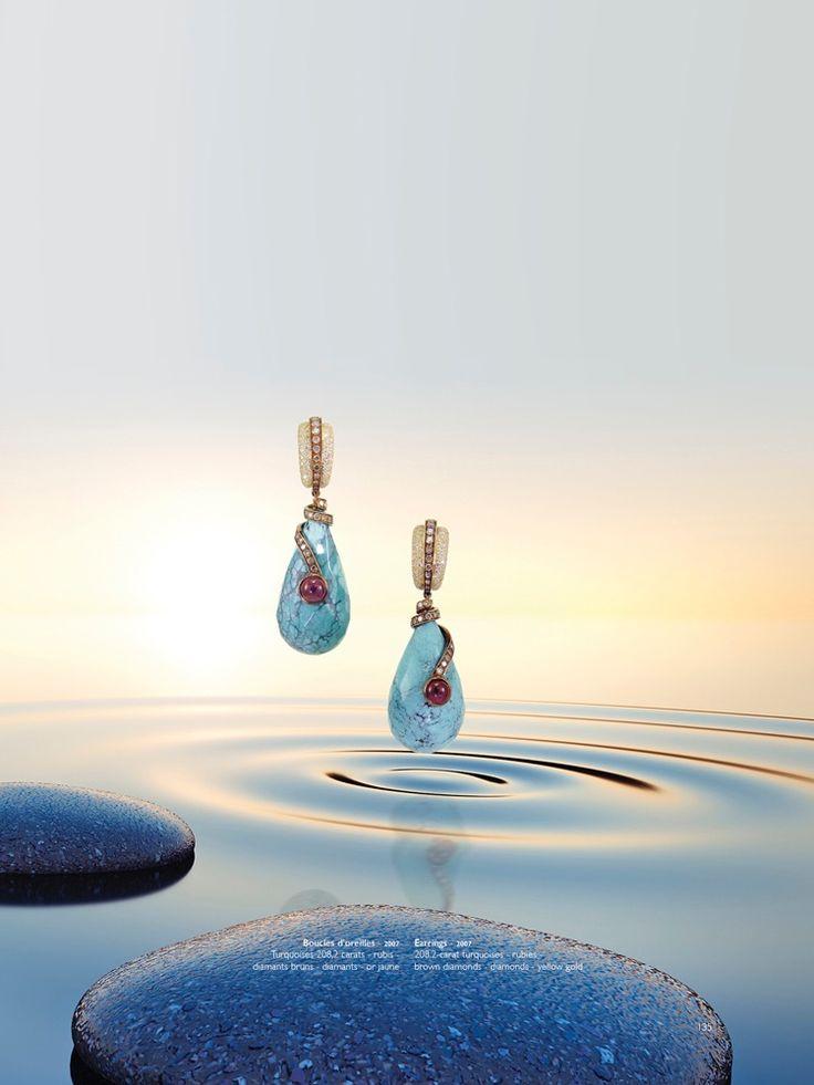 Erik Schaix, bijoux d'un couturier, turquoises, rubis, diamants, or jaune