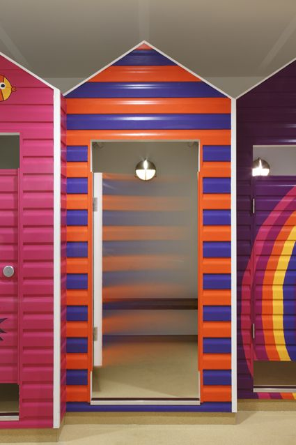 Colourful and fun changing room like in the beach