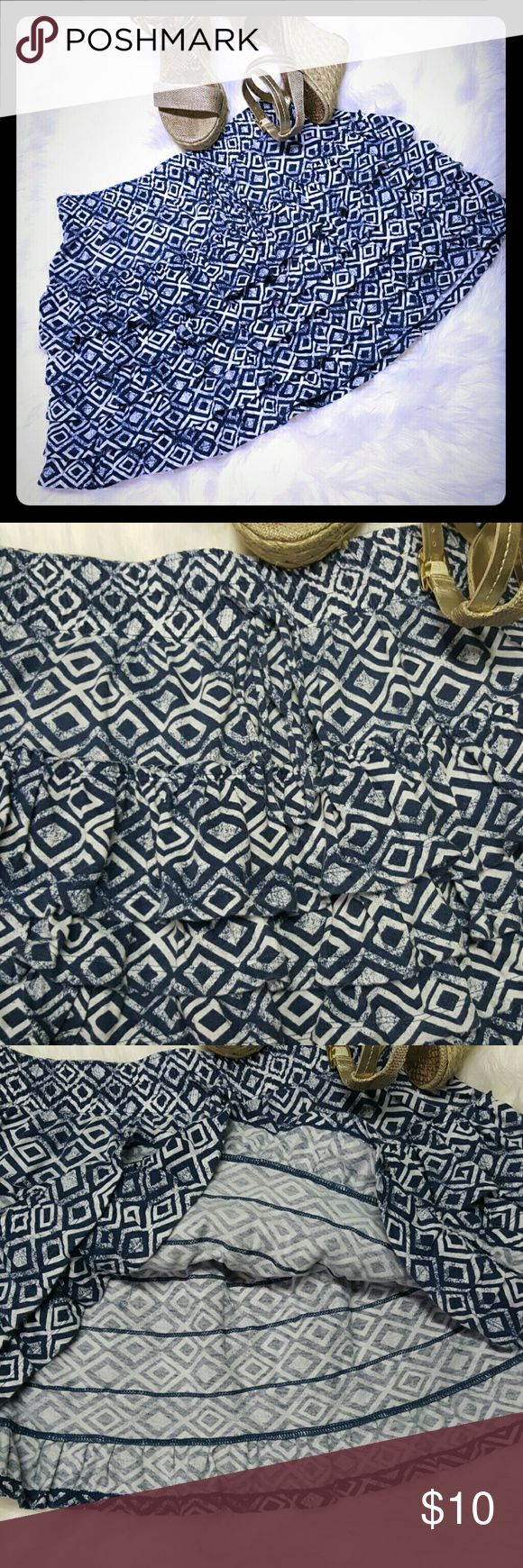 Aeropostale ruffled mini skirt Blue and white, diamond shaped geometric print. Cotton and polyester blend. Elastic waist with functional drawstring.  Makes a cute Summer skirt.  Unlined. EUC, no rips, stains. Aeropostale Skirts Mini