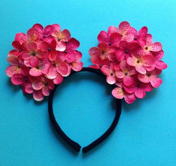Pink Floral Ombr Flower Mickey Minnie Ears Headband 16