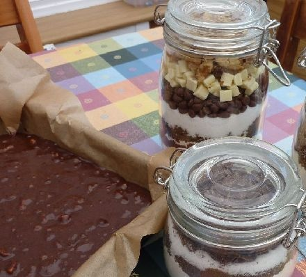 Chocolate Brownie Mix in a Jar recipe - Recipes - BBC Good Food #kaleidoscope #kilner #inspo