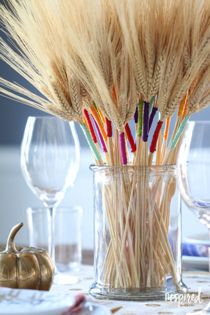 DIY Color Wrapped Wheat - beautiful, simple, and colorful decor for Thanksgiving.