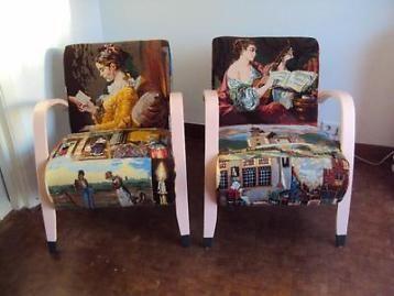 2 authentieke fauteuils/leesstoelen,vintage
