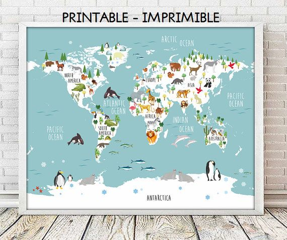 Mapa infantil animales, mapa naturaleza infantil, INGLES, mapa animales,laminas infantiles,laminas imprimibles,mapamundi,5 TAMAÑOS INCLUIDOS