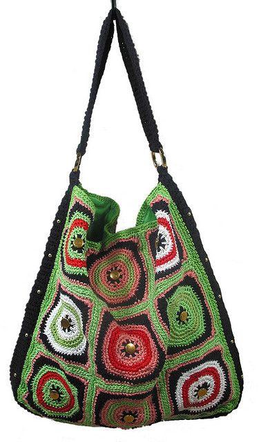 GrannyHobo by stitchdiva, via Flickr Crochet  Bag pattern