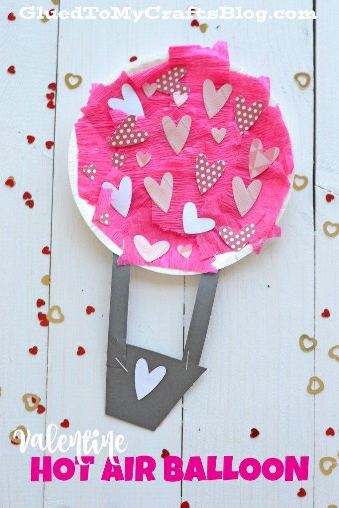 Valentine Hot Air Balloon Kid Craft Diy For Kids Pinterest