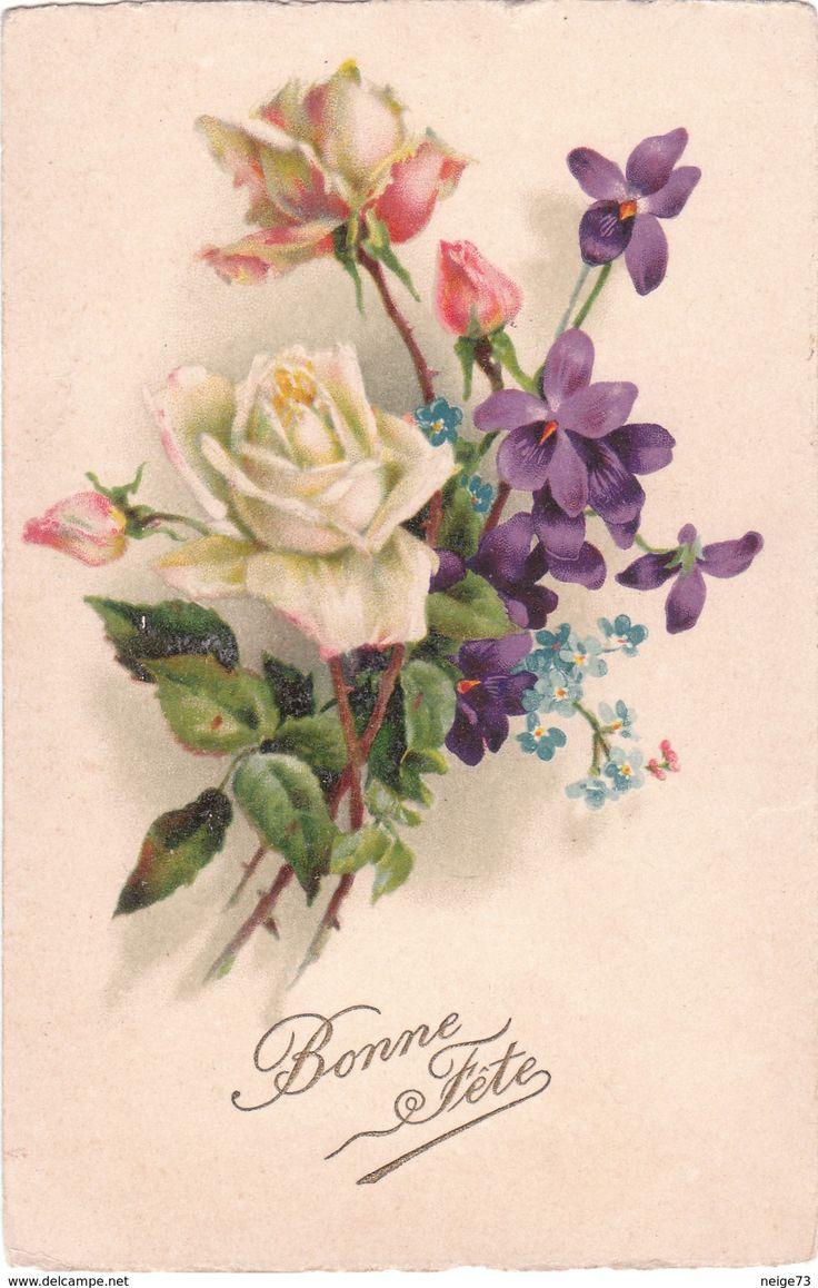 carte postale ancienne fantaisie fleurs roses violettes bonne f te. Black Bedroom Furniture Sets. Home Design Ideas