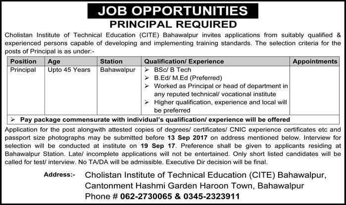 New Jobs announced under Cholistan Institute of Technical Education http://ift.tt/2eHDsBU   Cholistan Institute of Technical Education (CITE) Bahawalpur invites applications from suitably qualified 8 experienced persons capable of developing and implementing training standards.  Cholistan Institute of Technical Education  Last Date:  13 Sept 2017  Location:  Bahawalpur  Posted on:  07 Sept 2017  Category:  Government  Organization:  Education Department   Website/Email:  N/A  No. of…