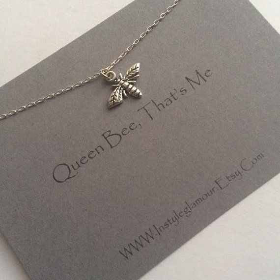Bee Necklace Silver Bee Necklace Insect by Instyleglamour on Etsy