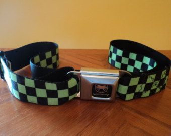 Viper Dodge Seatbelt Belt   Buckle Down  Black & Neon Green Checkerboard -  For sale now on Etsy     - Etsy