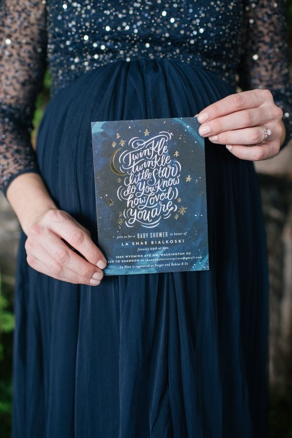 Galaxy inspired baby shower invitation: http://www.stylemepretty.com/living/2017/05/12/love-you-to-the-moon-and-back-a-galaxy-inspired-baby-shower/ Photography: Reema Desai - http://reemadesai.com/