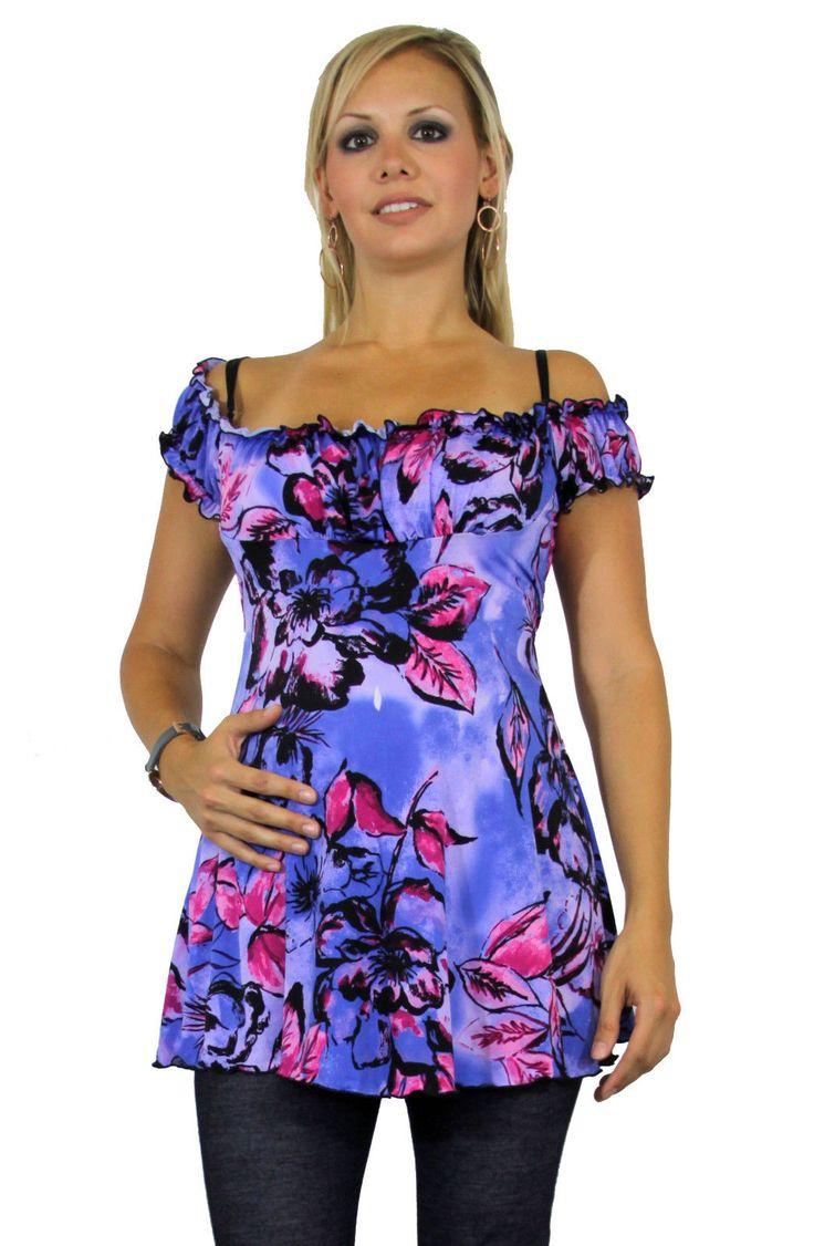 Purple Flower Fairy Design Maternity Short Sleeve Top Pregnancy Pregnant Trendy
