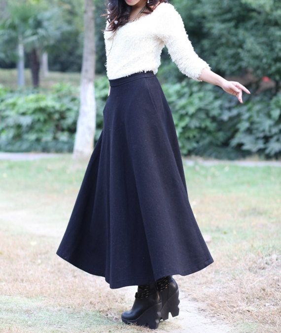 Elegant Maxi Skirt Wool Skirt Winter Wool Dress by dresstore2000, $58.99