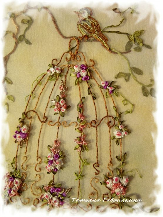 ♒ Enchanting Embroidery ♒ embroidered floral birdcage