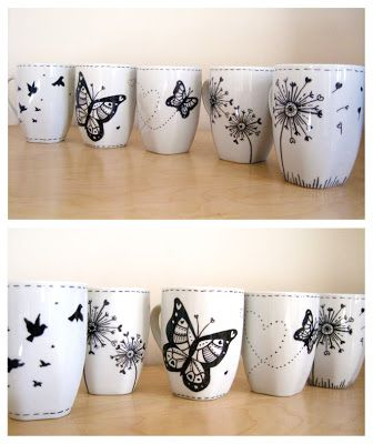 Hand painted mugs by Helen Naylor