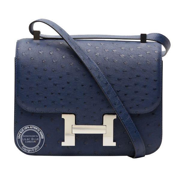 Ostrich, Palladium   Hermes Constance, Lindy   Other Bags   Hermes, Hermes  constance, Indigo 2ee4c96e27