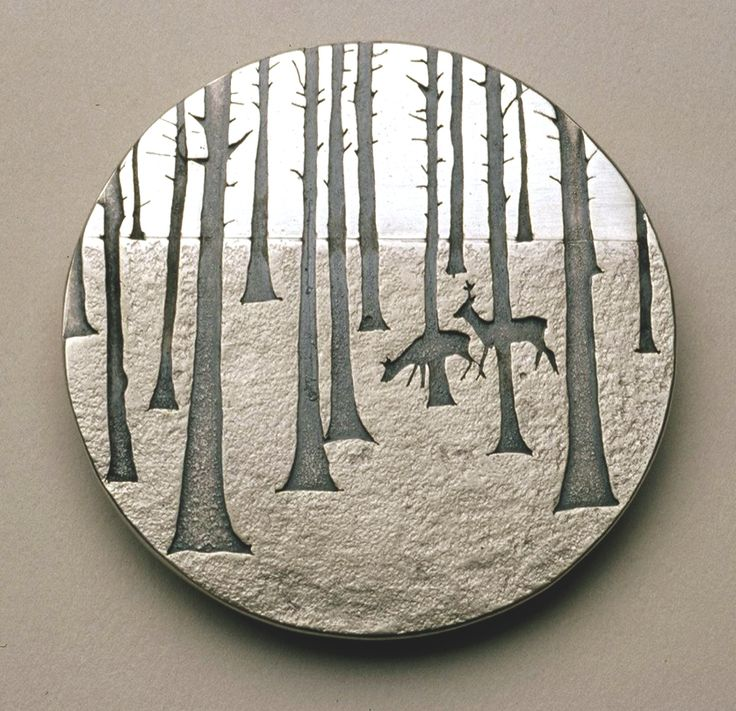 "Brooch | Jane Dodd. ""Deer in the Wood"". Sterling silver. From her ""Land and Nature"" series. Lovely and could serve as inspiration for a sawn piece."