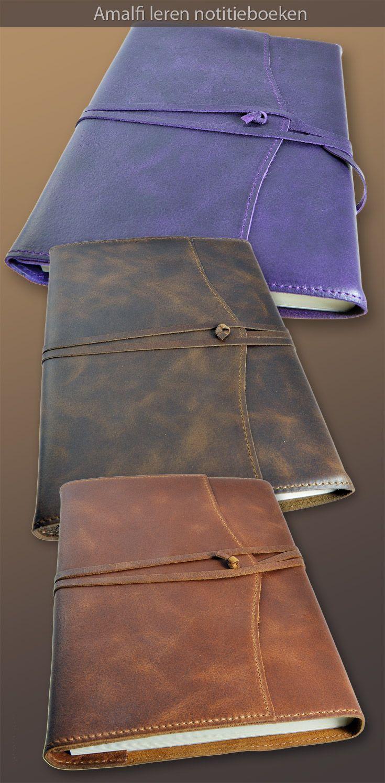 Onze Amalfi navulbare leren notitieboeken. Prachtige kwaliteit Italiaans zacht kalfsleer. Betrap jezelf erop dat je het leer blijft aaien. :-) Te koop voor €65,-