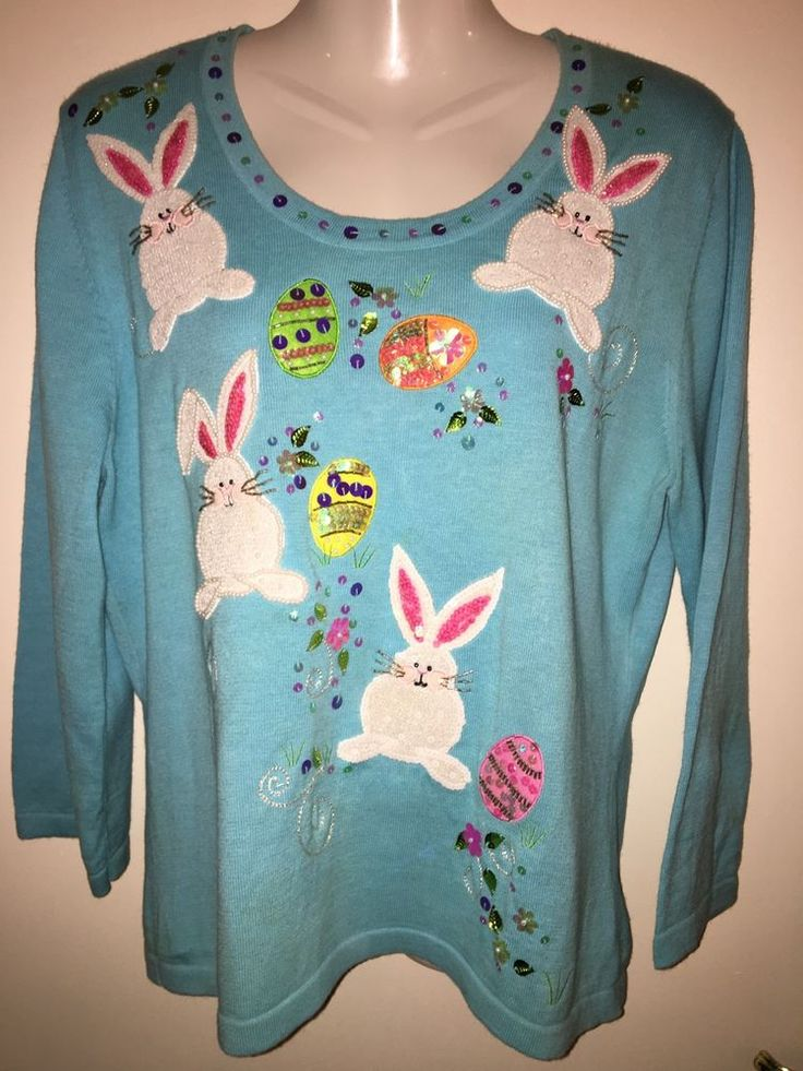 Jack B Quick Embellished Easter Sweater sz Large Bunnies Eggs Beads Sequins    eBay