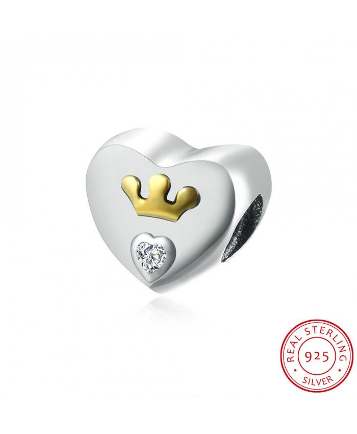 Heart-shaped 925 Sterling Silver Bracelet Charms with Gold Crown and White Zircon