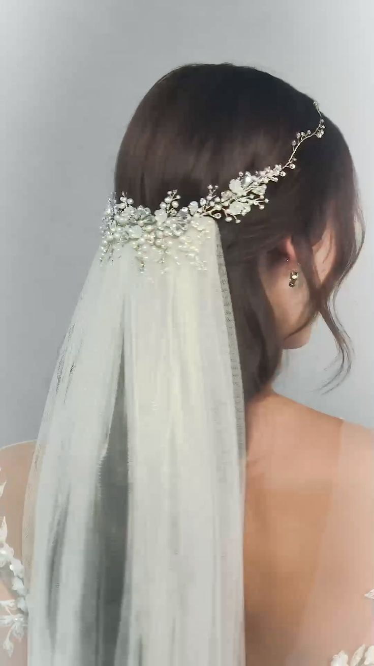 Cordelia Crystal Headpiece and Dewdrop Hairvine-hair accessories, wedding hairstyle, bridal look