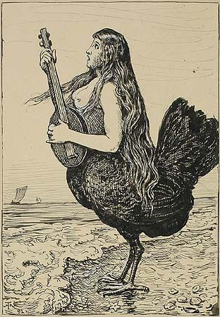 Hans Thoma (1839-1924) Siren (Sirene) pen and ink drawing on paper 21.9 x 15.1 cm 1892 monogrammed and dated
