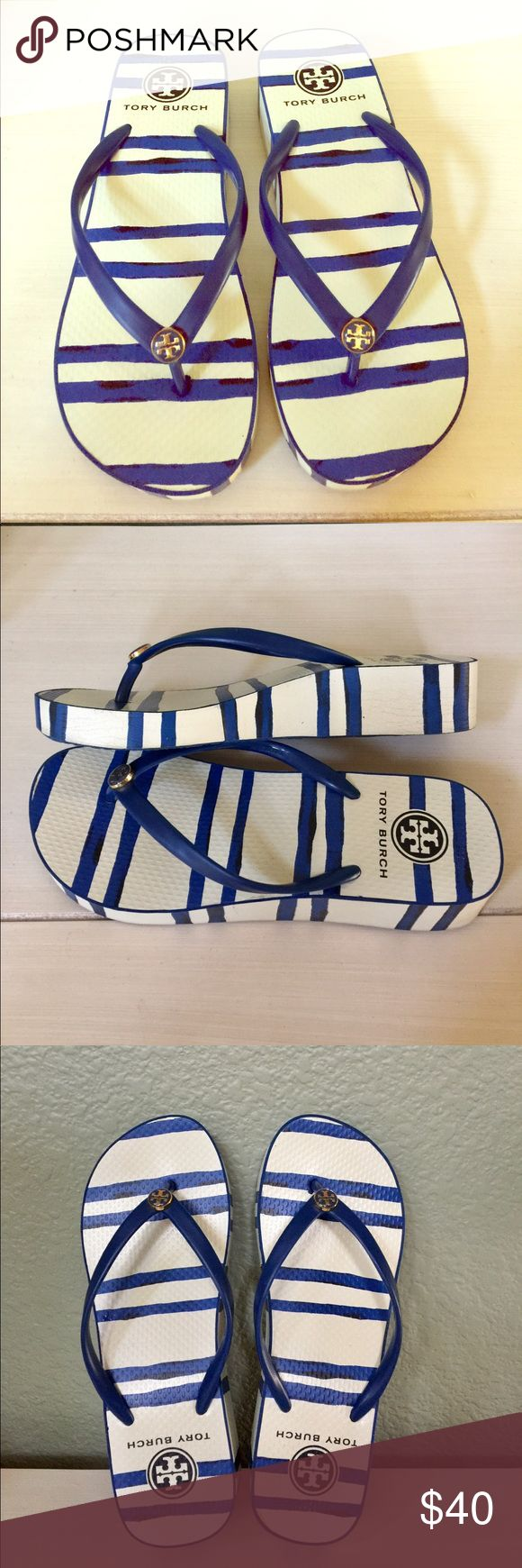 Tory Burch wedge flip flop Tory Burch striped blue and white wedge flip flop, used only a few times. Ready to sell it since I haven't used it for a while, prefer to wear flat flip flops. Tory Burch Shoes Slippers