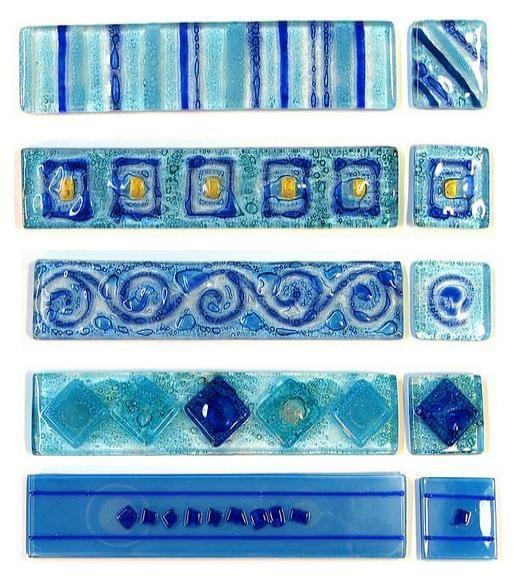 Decoración de baños/ GUARDAS EN VITRO Color Azul - Decoractual - Diseño y Decoración