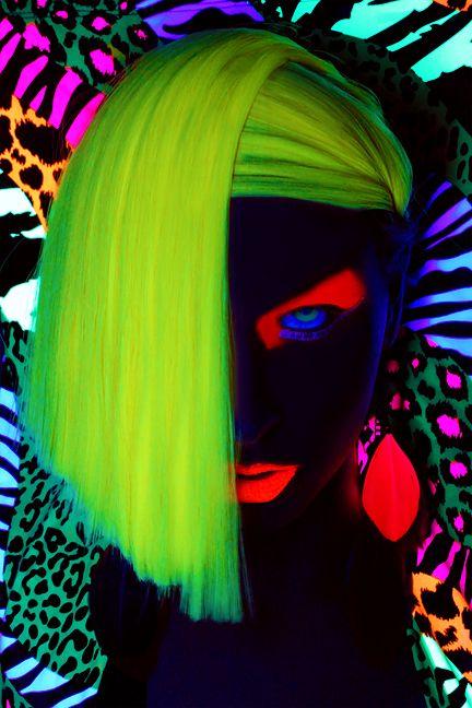 Glow In The Dark Neon UV body art. Pastel, neon, colours, summer, love, beach…