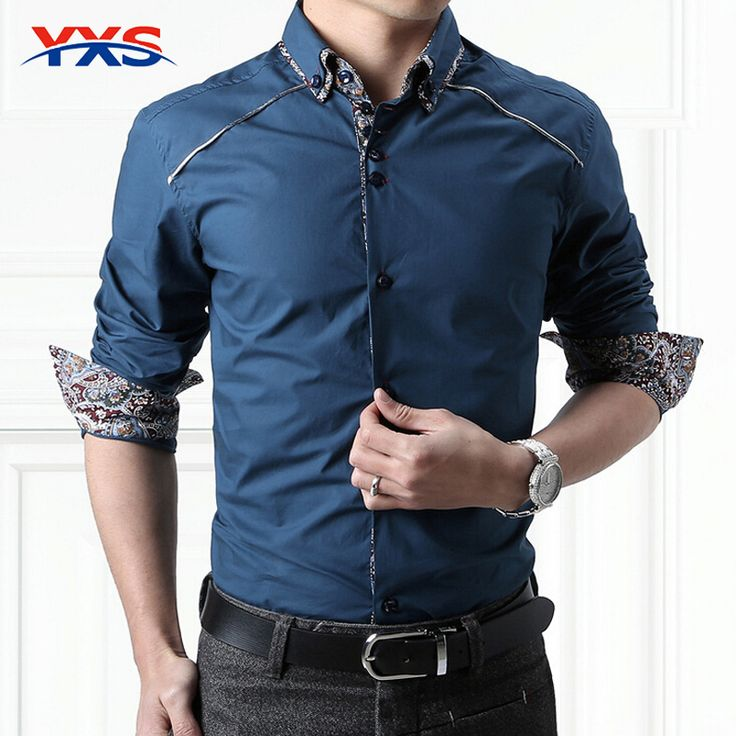 YXS12 New 2015 Spring Men'S Slim Fit Dress Shirt Men'S Cotton Fashion Shirt Business Long Sleeve Double Collar Shirt For Men