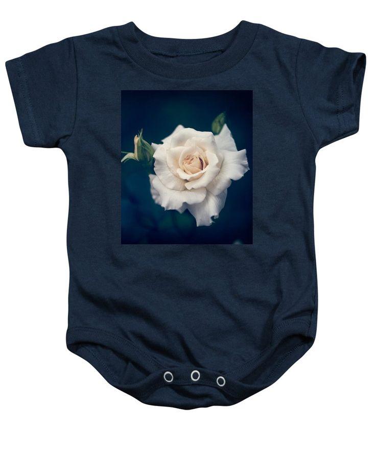 Beautiful Baby Onesie featuring the photograph White Rose by Veronika Verebryusova
